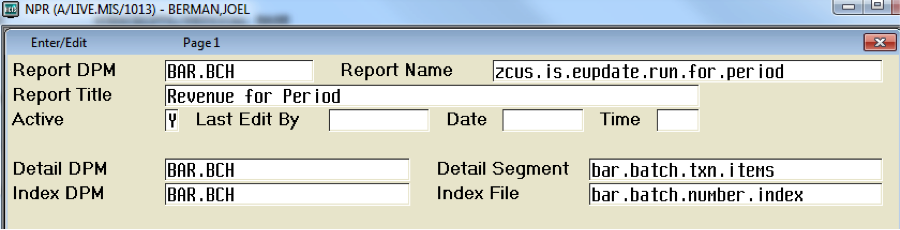 Run Report for Period without prompting for date range (Client/Server or MAGIC)